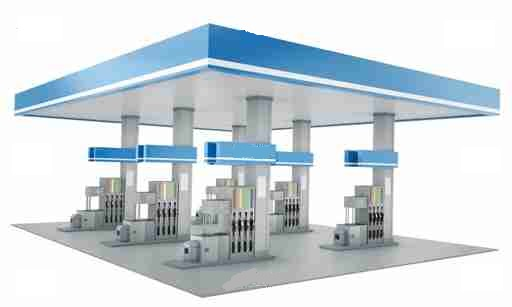 Gas station isolated on white background, 3d render